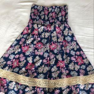 Roxy Strapless smocked floral dress